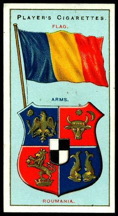 "Player's Cigarettes ""Countries Arms & Flags"" (series of 50 issued in Roumania European Flags, Peles Castle, Countries And Flags, Flag Country, Collectible Cards, Flags Of The World, Old Postcards, Vintage Labels, Coat Of Arms"
