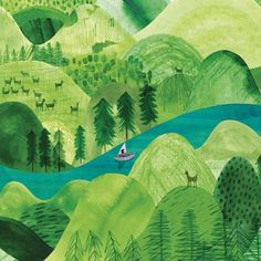 Hills and valleys illustration Forest Illustration, Landscape Illustration, Children's Book Illustration, Botanical Illustration, Landscape Art, Scenery Paintings, Hills And Valleys, Environment Concept Art, Art Graphique