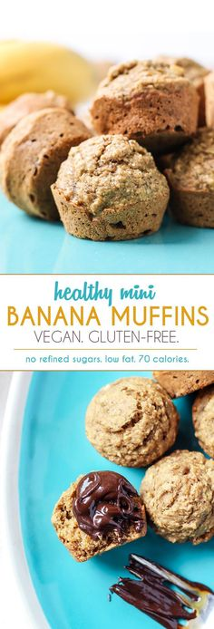 These healthy Mini Banana Muffins are made vegan and gluten-free friendly using oat flour and flaxseed!