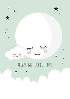 Poster Dream big little one mint A4. Met deze lieve maan poster boven het bedje, gaat je baby lekker dromen. De poster in mintgroen met een witte maan, wolkje en sterren is een eyecatcher in de babykamer. Tekst: dream big little one. De poster is ook erg leuk om cadeau te doen bij een babyshower of als kraamcadeautje. kinderkamer babykamer inspiratie decoratie mintgoen moon wolk cloud: