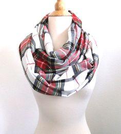 Flannel infinity Scarf Plaid Scarf Christmas scarf by SewBirdiful