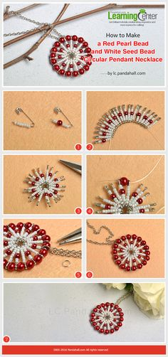 How to Make a Red Pearl Bead and White Seed Bead Circular Pendant Necklace from LC.Pandahall.com