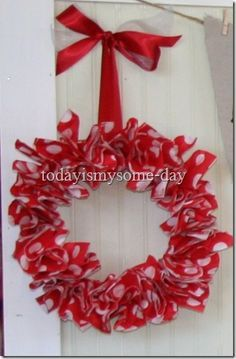 Easy Valentine Paper Napkin Wreath How-To ~ made with paper napkins, this is seriously so easy!