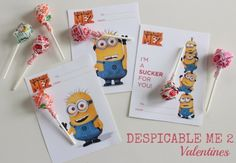 So going to be Adalyn's V'day Card! She loves this movie!! It's Brandon's favorite too.    ---Despicable Me Crafts and Free Valentine Printable!