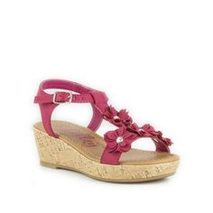 Lilley Girls Dark Pink T-Bar Flower Wedge Sandal  £9.99