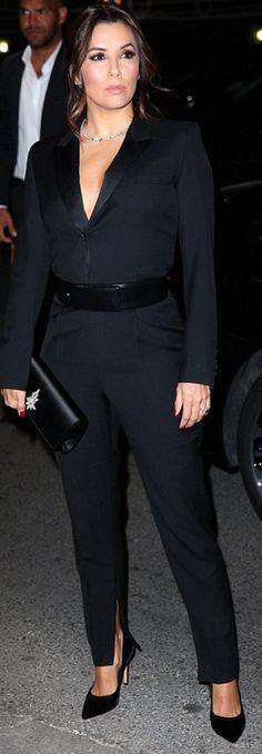 Who made  Eva Longoria's suede pumps, jewelry, black pants, satin jacket, and crystal clutch handbag?