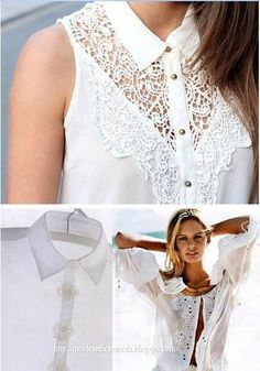 Free ideas and inspiration for refashion of clothes. Ideas para reciclar camisas y camisetas Diy Clothing, Sewing Clothes, Diy Fashion, Ideias Fashion, Fashion Design, Fashion Ideas, Fashion Tips, Abaya Mode, Diy Vetement