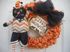 Halloween Cat wreath Cat wreath Halloween by ChloesCraftCloset