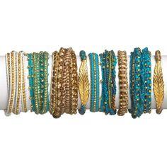 Chan Luu Gold Leather 5-Wrap Bracelet ($220) ❤ liked on Polyvore