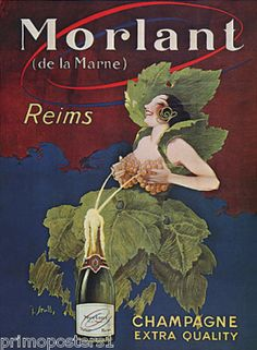 Breast Grapes Wine Morlant Reims Champagne Repro Poster | eBay    ummmmh   CHAMPAGNE  DE   FRANCE,,,,**+