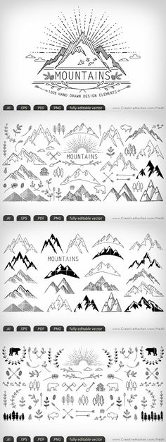 Mountains hand-drawn editable vector by Nedti on Creative Market Doodle Drawings, Doodle Art, Doodle Ideas, Music Doodle, Doodle Frames, Zentangle, Bullet Journal Inspiration, Bullet Journal Design Ideas, Bullet Journal Doodles Ideas