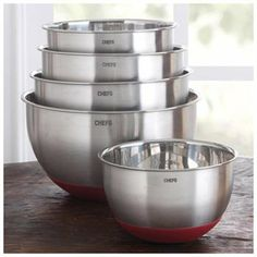 Rakuten.com:CHEFS Catalog|CHEFS Stainless-Steel Mixing Bowl Set with Non-Skid Silicone Bottom, 5 piece|Uncategorized