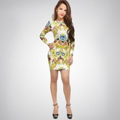 Printed Halter Long Sleeve Sexy Bandage Dress H456$139.Just a good news here,  everybody can enjoy the big discount to get the  chic bandage dress,  factory direct sales,stock limit,hurry to shop now:http://udobuy.com/category-151-b0.html
