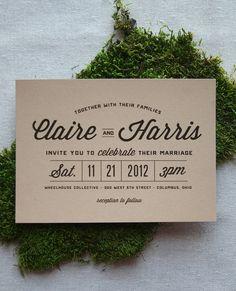 Stacked Typography Retro Modern Wedding por CheerUpCherup en Etsy, $3.75