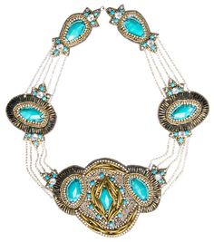 Necklace 3-note, this is NOT genuine turquoise-they are resin beads-might be a fun design to diy.