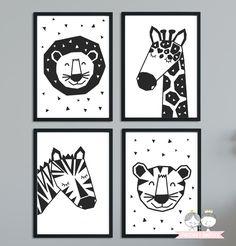 Du möchtest das Zimmer deines Kindes in schwarzweiß oder in grau gestalten, dann passen diese Bilder ganz hervorragend. Die vier Tierchen sind supersüß und werden ein echter Hingucker an der...