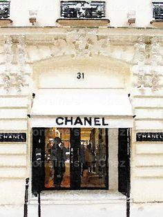 Chanel Paris Store:  A Fashion Watercolor Fine by ChezLorraines
