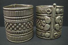 Pair of Incised Silver Bracelets
