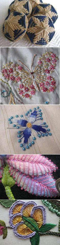 Объемная вышивка - идеи и швы | ришелье бразильская вышивка | Постила