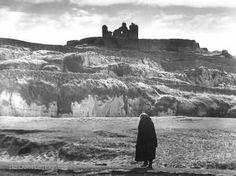Woman wearing Galway shawl & O'Briens Castle, Ireland photo c1958
