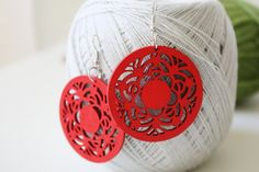 NEW  Red Full Moon Flower Wood Earring by muiwish on Etsy, $5.50
