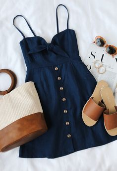 Spring outfits for ideas and scholl and korean. Spring Fashion Rodeo Navy Blue Tie-Front Dress Source by Mode Outfits, Casual Outfits, Navy Blue Outfits, Casual Lunch Outfit, Lunch Date Outfit, Hot Day Outfit, Skater Outfits, Navy Blue Dresses, Spring Summer Fashion
