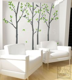 Tree Wall Decal Forest Spring Trees with Birds Wall Decal-100 inches- Winter Trees Nature Vinyl Wall Decal Home Decor Sticker