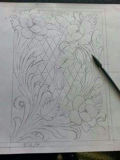 Floral pattern drawn by Tim Alden. It Will be carved into leather starting tomorrow!