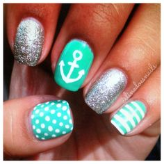 Mint green nails..minus everything but dots and one sparkle