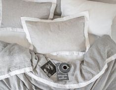 Melange linen pillowcase with a white border. Perfect Match, Grey And White, Different Colors, Bed Pillows, Pillow Cases, Colours, Collection, Pillows