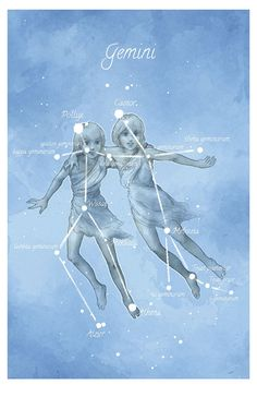 Astronomy art, Gemini constellation, stars, astrology print