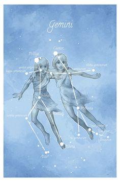 Astronomy art Gemini constellation by LaPetiteMascarade on Etsy