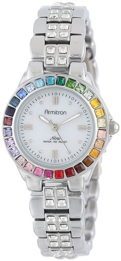 Armitron Women's 75/3689MPSVRB Multi-Color Swarovski Crystal Accented Silver-Tone Bracelet Watch -- See this great watch.