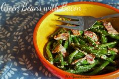Crisp green beans are tossed with bacon and a warm vinaigrette dressing in this upscale side dish. This is an amazing green beans with bacon recipe. Green Beans With Bacon, Steamed Green Beans, Bacon Recipes, Salad Recipes, Yummy Recipes, Yummy Food, Healthy Recipes, Vegetable Salad, Vegetable Recipes