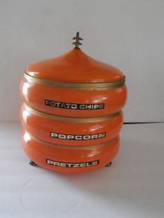 Vintage Orange Metal Stacking Snack Tray Set by tjmccarty on Etsy, $23.50
