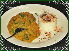 Mancare de linte rosie cu ciuperci--guestpost la Retetele mele dragi.com Romanian Food, Curry, Vegetarian, Chicken, Meat, Ethnic Recipes, Curries, Cubs, Kai