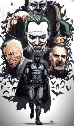 Happy Batman Day everyone! [Batman Rogues by IMMages on deviantART] Comic Book Characters, Comic Character, Comic Books Art, Comic Art, Im Batman, Batman Art, Batman Poster, Bob Kane, Geeks