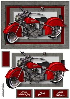Red Retro Motorbike A5 Landscape on Craftsuprint - View Now!