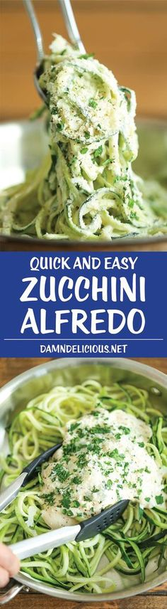 Zucchini Alfredo - Healthy, decadent, amazingly creamy AND low-carb. Finally, a guilt-less alfredo dish that the entire family can enjoy! (meal ideas for dinner low carb) Zoodle Recipes, Spiralizer Recipes, Veggie Recipes, Diet Recipes, Cooking Recipes, Cake Recipes, Recipies, Healthy Rotisserie Chicken Recipes, Zucchini Spiralizer
