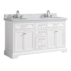 Home Decorators Collection Windlowe 61 in. W x 22 in. D x 35 in. H Bath Vanity in White with Carrera Marble Vanity Top in White with White Sink - The Home Depot Tub Shower Combo, Shower Tub, Restroom Remodel, Bath Remodel, Mobile Home Decorating, Interior Decorating, Marble Vanity Tops, Bathroom Renovations, Bathroom Renos