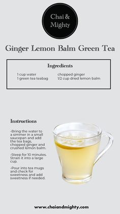The ginger balm green tea is served hot and has all the benefits of green tea and ginger. It has antioxidants and it will keep you warm. Tea Recipes, Coffee Recipes, Yummy Drinks, Healthy Drinks, Green Tea Ingredients, Haut Routine, Dried Lemon, Green Tea Benefits, Ginger Tea