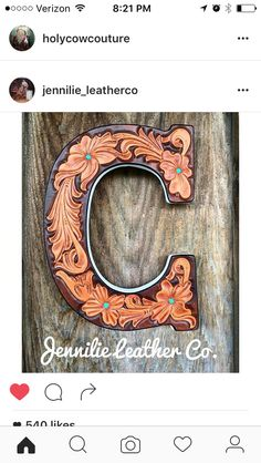 Tooled leather monogram