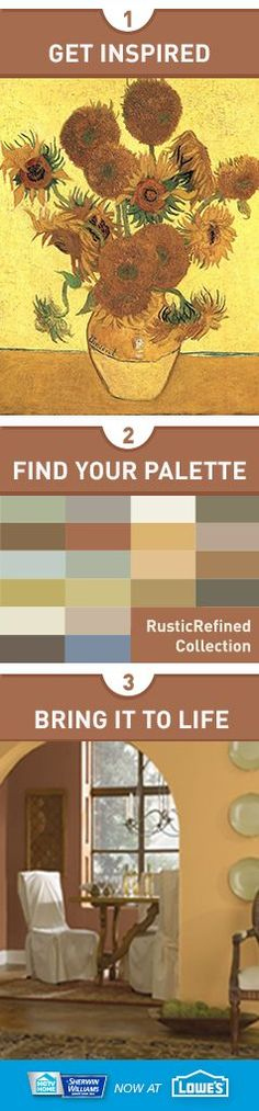 """Let a bouquet of sunflowers from your favorite canvas inspire you. The """"Rustic Refined"""" collection from HGTV HOME™ by Sherwin-Williams brings this down-to-earth palette to your interior decor, creating a feeling of a Tuscan villa or ranch."""