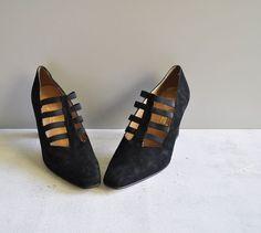 Vintage Cage Heels / SOOT Black Suede / High by GingerRootVintage, $30.00