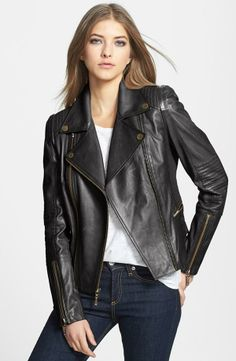 'Tara' Leather Moto Jacket
