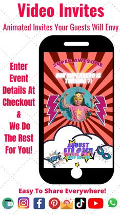 Amaze your guests with our amazing digital invitations. Eco-friendly animated invitations for Birthdays, Graduations, Baby Showers, Holidays, or any occasion! Just provide the event details and we set up your Guest RSVP Invite. #party #invitation #birthday #babyshowerideas #graduation #holidays #event Invitation Birthday, Birthday Party Themes, Girl Birthday, Party Invitations, Invite, Girl Superhero Party, Popular Birthdays, Party Activities, Themed Parties