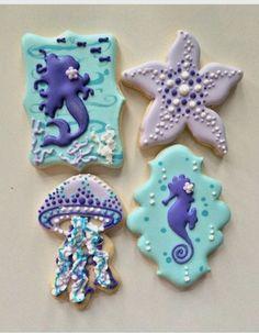 """June Bug & Moo on Instagram: """"Mermaid, seahorse, starfish, jellyfish cookies #customcookies #decoratedcookies #royalicing #austincookies"""""""