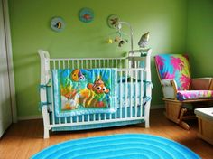 Baby Nursery:Baby Boy Nursery Decorating Ideas With Finding Room Themes And Wall Green Color Schems Plus One Chair For Sitter Baby Boy Nurse...