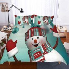 Duvet Cover Set Christmas Bed Set Festival Decoration Bedding Cartoon Snowman Bed Sets for Kids/ Adult Polyester Breathable Bedding Sets Duvet Cover Sets, Pillow Covers, Pillow Shams, Pillows, Blanket Cover, Festival Decorations, Skin So Soft, Home Textile, Bedding Sets