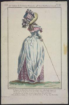 1787 Rodingotte de taffetas blanc relevée à la militaire avec collet simple juppon en taffetas rose broché de noir et bordé en blanc, chapeau en paille jaune avec un ruban lilas raié de blanc: le fond à haute forme raié rose et blanc.
